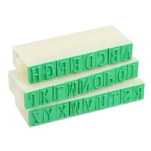 Set di timbri mobili con lettere dell'alfabeto inglese, in plastica, 26lettere, colore beige verde, dimensioni 1x 0,8cm