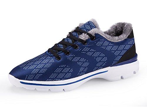 UMmaid Hommes Hiver Chaussures Sneakers En Plein Air Fausse Fourrure Chaud Doublé Neige Chaussures Bas Top Casual Chaussures De Marche 1.Bleu