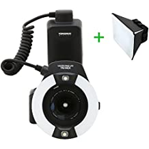 Yongnuo-14EX, yn14ex flash anular Macro flash anular para Canon EOS 7D, 5D Mark II, III, 60D, 650D, 600D, 550D, 50D, 40D, 700D, 70D cámaras (TTL) soporte del flash con difusor
