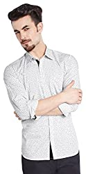 PARX Mens Casual Shirt (8907253848101_XMSS05539-K2_44_White and black)
