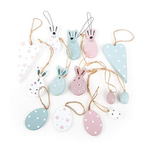 Logbuch-verlag 14 pezzi decorazione pasquale da appendere, coniglietto pasquale, leprotto di legno, cuore, coniglio, pasqua, decorazione, rosa, azzurro, bianco, shabby chic