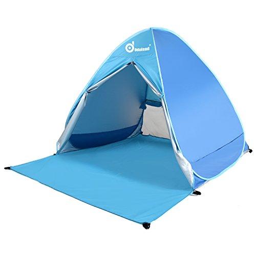 ODOLAND Parasole Basecamp Shelter automatico Pop Up Instant portatile tenda esterna rapida Cabana Beach pieghevole Sun Shelter, Blu