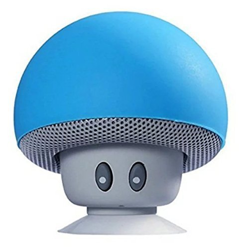 Hipipooo Mini Pilz Portable Wireless Bluetooth V2.1 Lautsprecher und Handy Support Halter mit Saugnapf Kompatibel mit iPad, iPhone, Android Handys, Laptop(Blau)