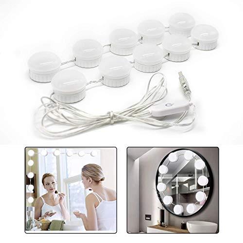 Luci da specchio led - Glamsvill Lampada da specchio dimmerabili kit luci per specchio stile Hollywood per postazione trucco, specchio armadio, bagno, showroom, hotel