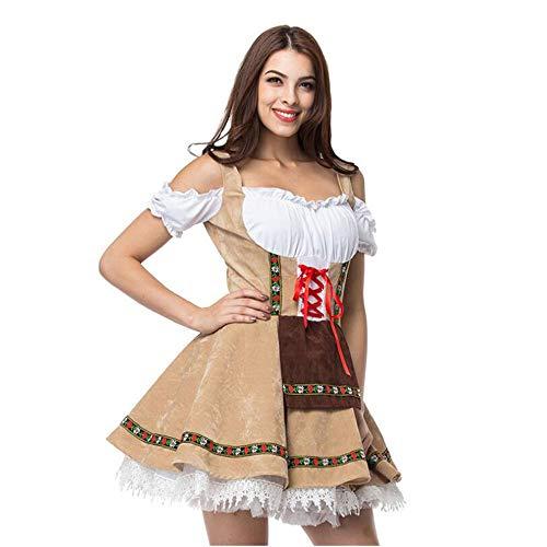 Irland Oktoberfest Kostüm - Frauen Oktoberfest Kostüm Kleid, Mädchen Bier Festival Kostüm, Bayern Stil Uniform Lace-Up Slim Off-Shoulder-Kleid,L
