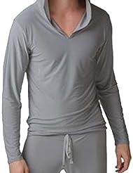 JWBBU® Yoga T-shirt à Manches Longues Sexy Doux et Soyeux pour Hommes Gris
