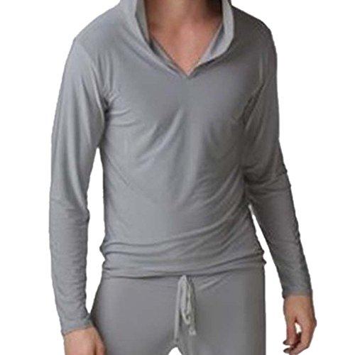 JWBBU® Yoga T-shirt à Manches Longues Sexy Doux et Soyeux pour Hommes Gris (L)