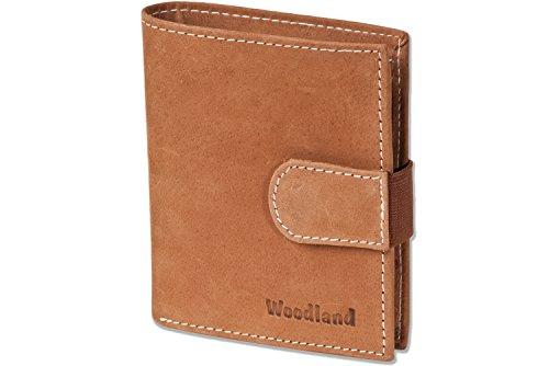 Woodland® - Super-Kompakte Geldbörse mit XXL-Kreditkartentaschen für 18 Karten aus naturbelassenem Büffelleder in Cognac, Beige (Herren Geldbörse Beige)