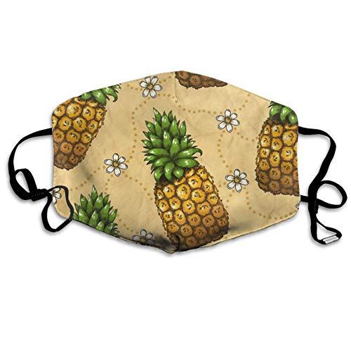 Louis Berry Staubdichte Maske für Damen und Herren, wiederverwendbar, Ananas-Blumenmuster, Mundmaske, Unisex -