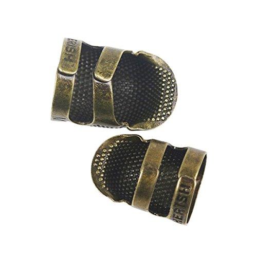 D&D, Nähring / Fingerhut / Fingerschutz, rutschfest, Metall, für Nähen / Quilten / Basteln / Handwerk, klassisches Design, Größe: klein / mittel M metall