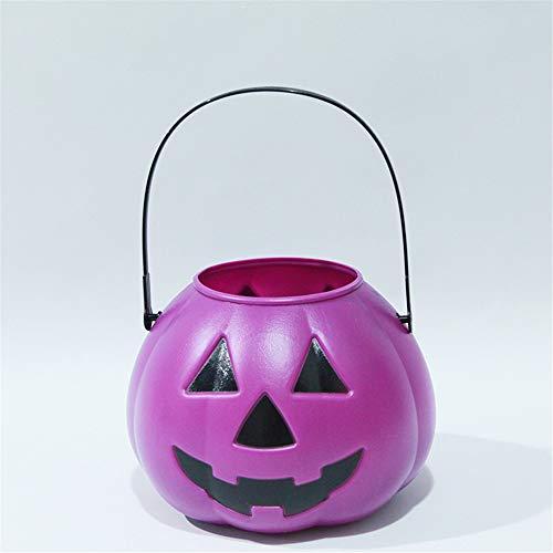 Schlummerleuchten Halloween-Kürbis-Licht-Requisiten-manuelles Kind-tragbare glühende Kürbis-Eimer-Süßigkeits-Dosen-Laterne-Verzierung, purpurrot ()