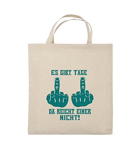 Comedy Bags - ES GIBT TAGE DA REICHT EINER NICHT - Jutebeutel - kurze Henkel - 38x42cm - Farbe: Schwarz / Silber Natural / Türkis
