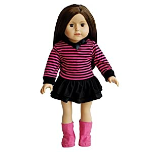 The New York Doll Collection Top a Rayas, Falda y Botas Rosas Ropa para muñecas de 45 cm (10325075)