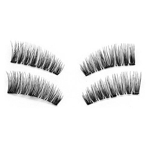 TOOGOO 1 paire / 4pcs Faux cils magnetiques longs a trois aimants 3D naturels Maquillage doux pour les yeux Extension de cils Outils de maquillage KS02-3