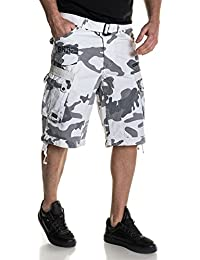 BLZ Jeans Bermuda blanc camouflage multipoches avec ceinture