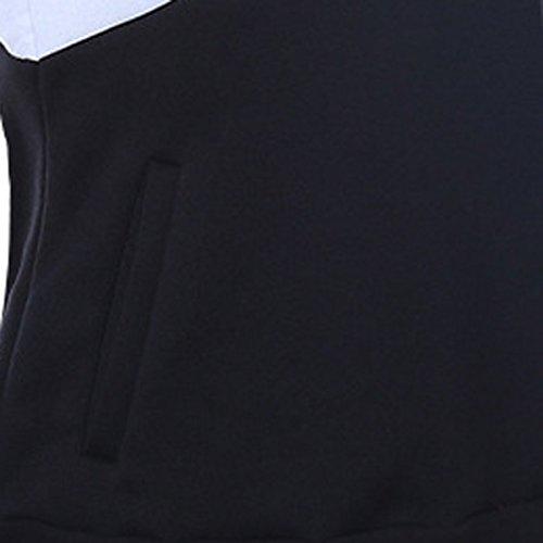 Autunno Signore In Bianco E Nero Corda Da Tiro Coulisse Manica Lunga Tasca Felpa Con Cappuccio White
