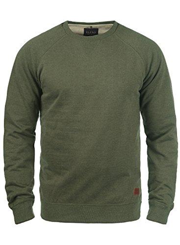 BLEND Alex Herren Sweatshirt Pullover Sweater mit Rundhalskragen aus hochwertiger Baumwollmischung, Größe:3XL, Farbe:Ivy Green (77026)