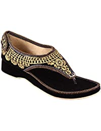 Kesar Design Traditional Rajasthani Ethnic Sandals For Women | Hook & Loop Wedges | Embroidery Work |All Pattern