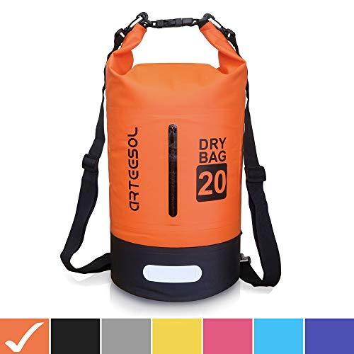 Arteesol Dry Bag - Mochila Impermeable con Doble Correa para el Hombro para Natación, Kayak, Barco, Pesca, Viajes, Ciclismo, Playa, 4 Colores, Naranja, 10 L