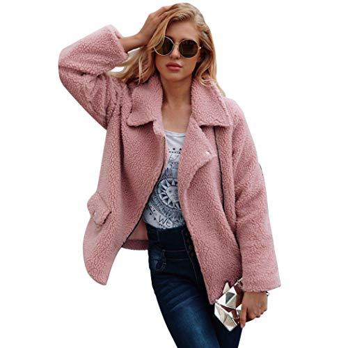 Soteer Damen Mantel Casual Winterjacke Revers Faux Wolle Warm Outwear Plüsch Jacke Mode Kurz Coat Winterparka Umlegekragen mit Reißverschluss - Mantel Damen Kurz Wolle Jacke