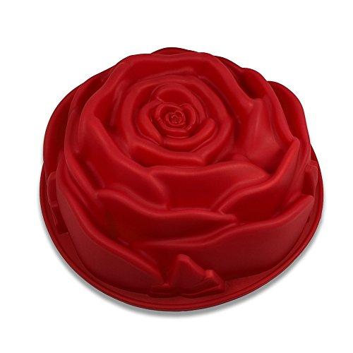 Fantasyday stampo in silicone per dolci a forma di rosa, 1 pezzi silicone muffin sapone handmade stampi per cubetti di ghiaccio, biscotti, tortini, cioccolato, dolci - silicone antiaderente, adatto ad alte e basse temperature