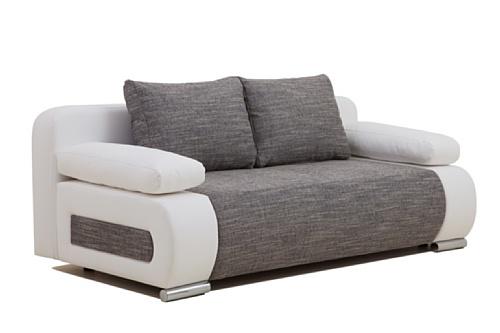 B-famous ULM Sofa Schlafsofa, Kunstleder, grau, 98 x 200 x 85 cm