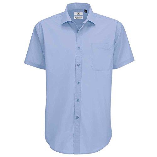 B&C Collection Mens Smart Short Sleeve Work Shirt Light Blue