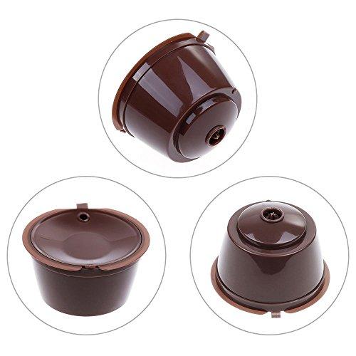 Lictin 3 Pack Dolce Gusto Kaffeekapsel Wiederverwendbare Kaffeekapselfüllung Mehr als 100 Verwendet Ersatz Kapsel Kaffeeduck (braun)
