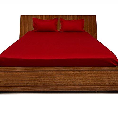 600tc 100% ägyptische Baumwolle elegant Finish 3Spannbetttuch Solid (Pocket Größe: 76,2cm), baumwolle, Blood Red Solid, EU_Super_King