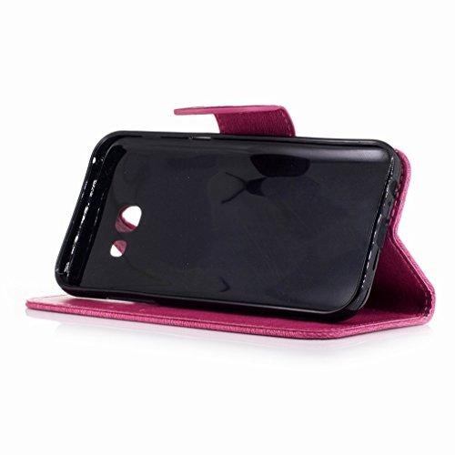 Yiizy Samsung Galaxy A5 (2017) Custodia Cover, Fiore Di Farfalla Design Sottile Flip Portafoglio PU Pelle Cuoio Copertura Shell Case Slot Schede Cavalletto Stile Libro Bumper Protettivo Borsa (Red Ros Red Rose
