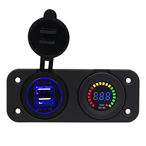 BlueFire Dual USB 4,2A Ladegerät Adapter und LED Voltmeter Panel Wasserdicht 12V-24V für Motorrad Auto Boot Marine Carvan -