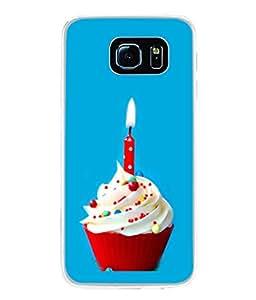PrintVisa Designer Back Case Cover for Samsung Galaxy S6 Edge+ :: Samsung Galaxy S6 Edge Plus :: Samsung Galaxy S6 Edge+ G928G :: Samsung Galaxy S6 Edge+ G928F G928T G928A G928I (Ice Cream Cake Candle Celebration Blue )