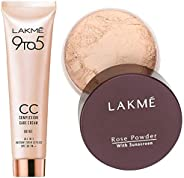Lakme 9 to 5 Complexion Care Face Cream, Beige, 30g & Lakme Rose Face Powder, Soft Pink, 40g