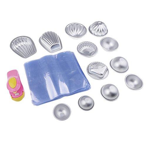MagiDeal 6 Set Moule en Aluminium avec Sac d'emballage et Mini Machine à Capper pour Savon de Bain DIY Fabrication de Savon/Pâte à Sucre/Pâtisserie / Décoration de Fondant