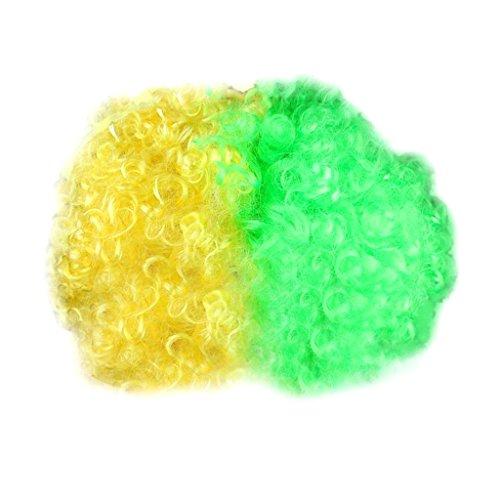 Party Disco Afro Clownhaar Fußball Erwachsenes Kind Kostüm Lockige Perücke 13 Länder - Brasilien, 110 cm * 120 cm / 43.3inch * 47.24inch