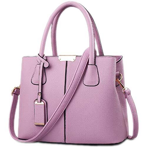 Frauen-PU-Leder-Handtaschen-Einkaufstasche-Quadrat-Schulter-Taschen Purple 29.5x13x21.5cm