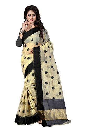 Shree Sanskruti Self Design Organza Beige and Black Color Saree For Women...