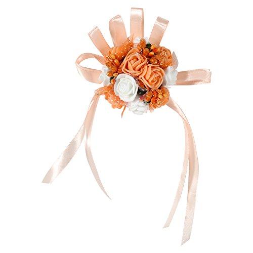2er Hochzeit Braut Brautjungfer Blumenstrauß Gierland Handgelenk Frauen Mädchen Corsage Party Prom Dance Hand Handgelenk Blume Strauß Dekoration(# 6 Orange + Blanc)