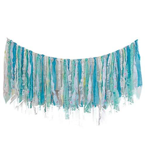 F-blue Band-Tassel Garland Blau Handgemachte Gewebe-Fahne Fringe hängen Dekor Hochzeit Nursery Foto Props Brautpartei Dusche