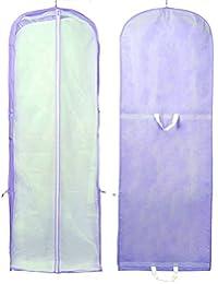 HIMRY® Transpirable bolsa de ropa, aprox. 180 cm para vestidos de novia o de fiesta, trajes, abrigos, - cierre de cremallera - 2 bolsillos para accesorios, Bolsa portatrajes, púrpura, KXB-101 purple