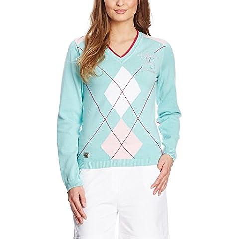 XFORE golf belle maglia maglione da donna con disegni a losanga, Park Royal, con scollatura a V in verde chiaro