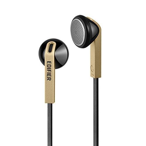 Edifier H190 Premium Earbuds Klassisches Design Earbud Kopfhörer Ohrhörer Mit verhedderfreiem Kabel Ohne Mikro Gold