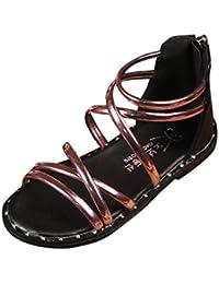 2543efcbee8b3 OHQ Enfants des Filles Traversent La Peau Claire Poisson Bouche Sandales à  GlissièRe Chaussures Romaines Princesse