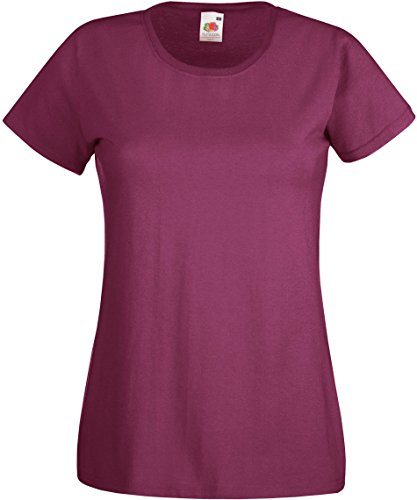 Lady-Fit Valueweight T - Farbe: Burgundy - Größe: 2XL (18) (Loom Burg)
