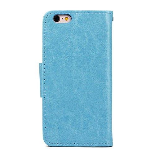 """MOONCASE pour iPhone 6 / 6S (4.7"""") Case Cuir Portefeuille Coque en Housse de Protection Étui à rabat Case Blanc Bleu #0308"""