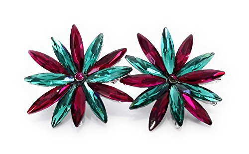 674b5ccb0a3a 3 - Pendientes Cristales Colores Mujer Fiesta Boda Pendientes Elegantes con  Forma de Flor y Dorso ...