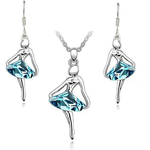 Swarovski Elements Cristal Austriaco 18k plateado oro blanco Ballet Collar pendiente, pendientes Bisutería Set Azul