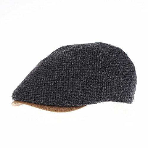 WITHMOONS Schlägermütze Golfermütze Schiebermütze Winter Tweed Houndstooth Newsboy Hat Faux Leather Brim Flat Cap SL3019 (Grey)