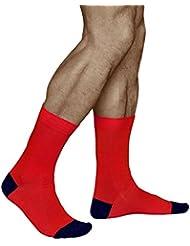 Chaussettes Multicolores pour Homme en rouge, jaune, turquoise ou violet, COTON PEIGNÉ NATURELLE, Vitsocks JOY