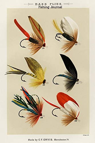 Bass Flies Fishing Journal, Made By C.F. Orvis Manchester VT: Fishing Diary Record Tales Serious Fishermen or Weekend Warriors Log Weather, Rod, Bait ... Mom, Sister,  Grandma, Aunt and Friends -